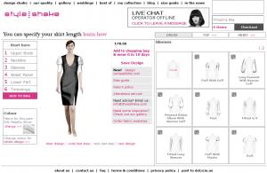 Screenshot des Kleider Design-Tools von Styleshake