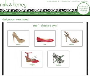 Screenshot der Milk and Honey Shoes Webseite