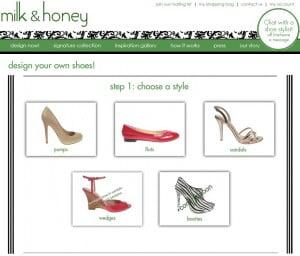 Screenshot der Milk and Honey Shoes Webseite