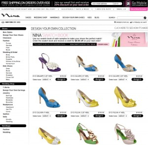 Screenshot der Nina Shoes Webseite