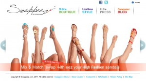 Screenshot des Swappeez Online-Shops für individuelle Sandalen