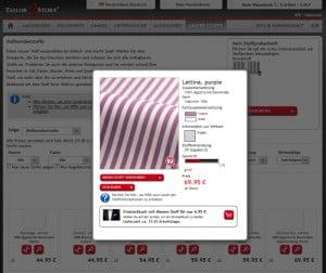 Screenshot der Stoffübersicht von Tailor Store