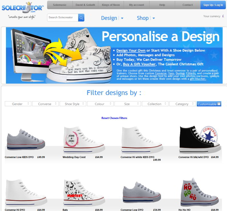 Sole Creator: Turnschuh & Sneakers Designers DesignTool offline