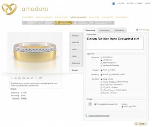 Screenshot des Amodora Trauring-Konfigurators