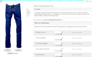 Individuelle Jeans Maße