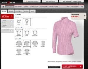 Screenshot des TailorStore Onlineshops für Maßhemden